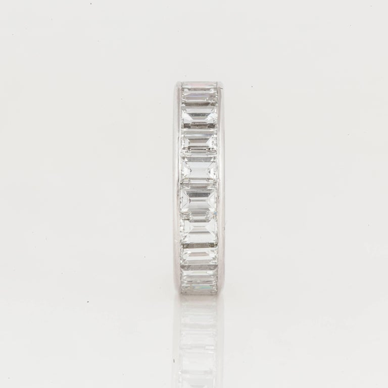 Emerald Cut Diamond Eternity Band In Excellent Condition For Sale In Houston, TX