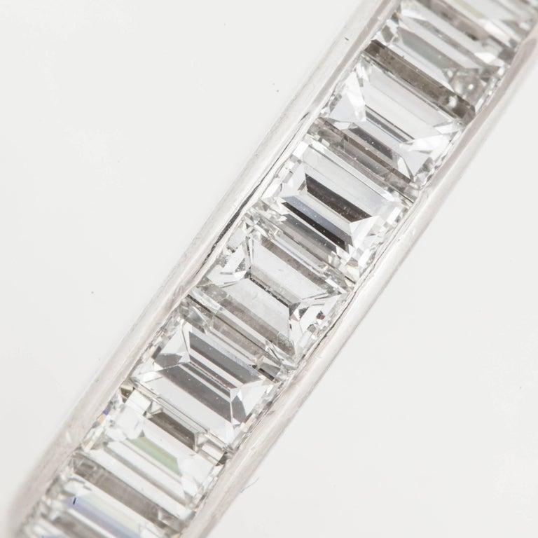 Women's or Men's Emerald Cut Diamond Eternity Band For Sale