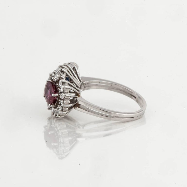 Platinum Ruby Sapphire Diamond Ring In Excellent Condition For Sale In Houston, TX
