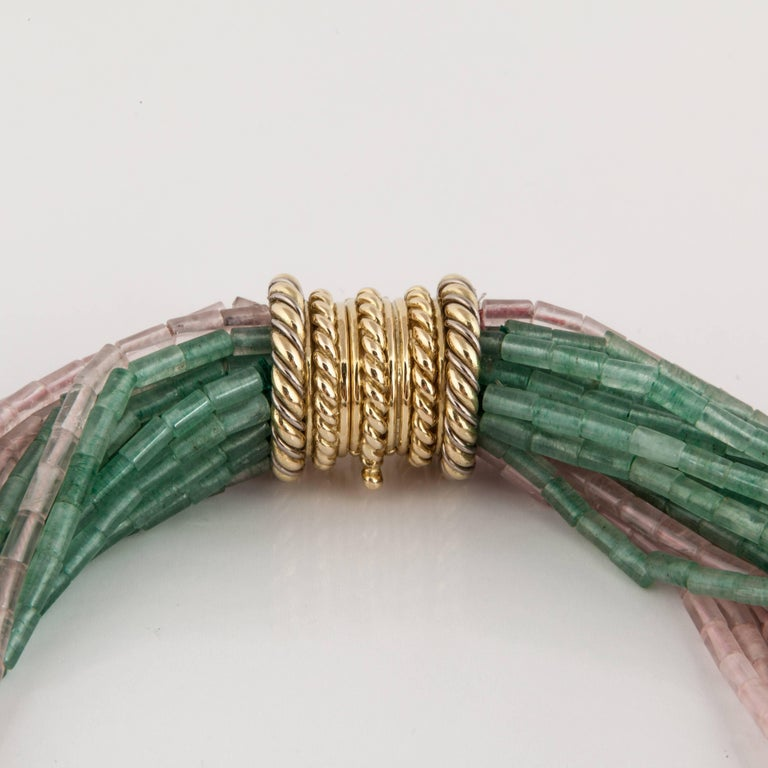 Tiffany & Co. Green and Pink Quartz Bead Torsade In Excellent Condition For Sale In Houston, TX