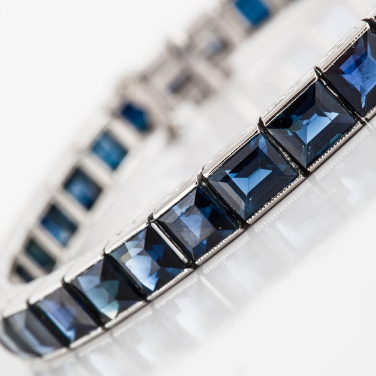 Black Star and Frost Platinum Sapphire Bracelet In Excellent Condition For Sale In Houston, TX