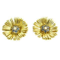 A Fabulous Pair of Sapphire Diamond Gold Flower Earrings