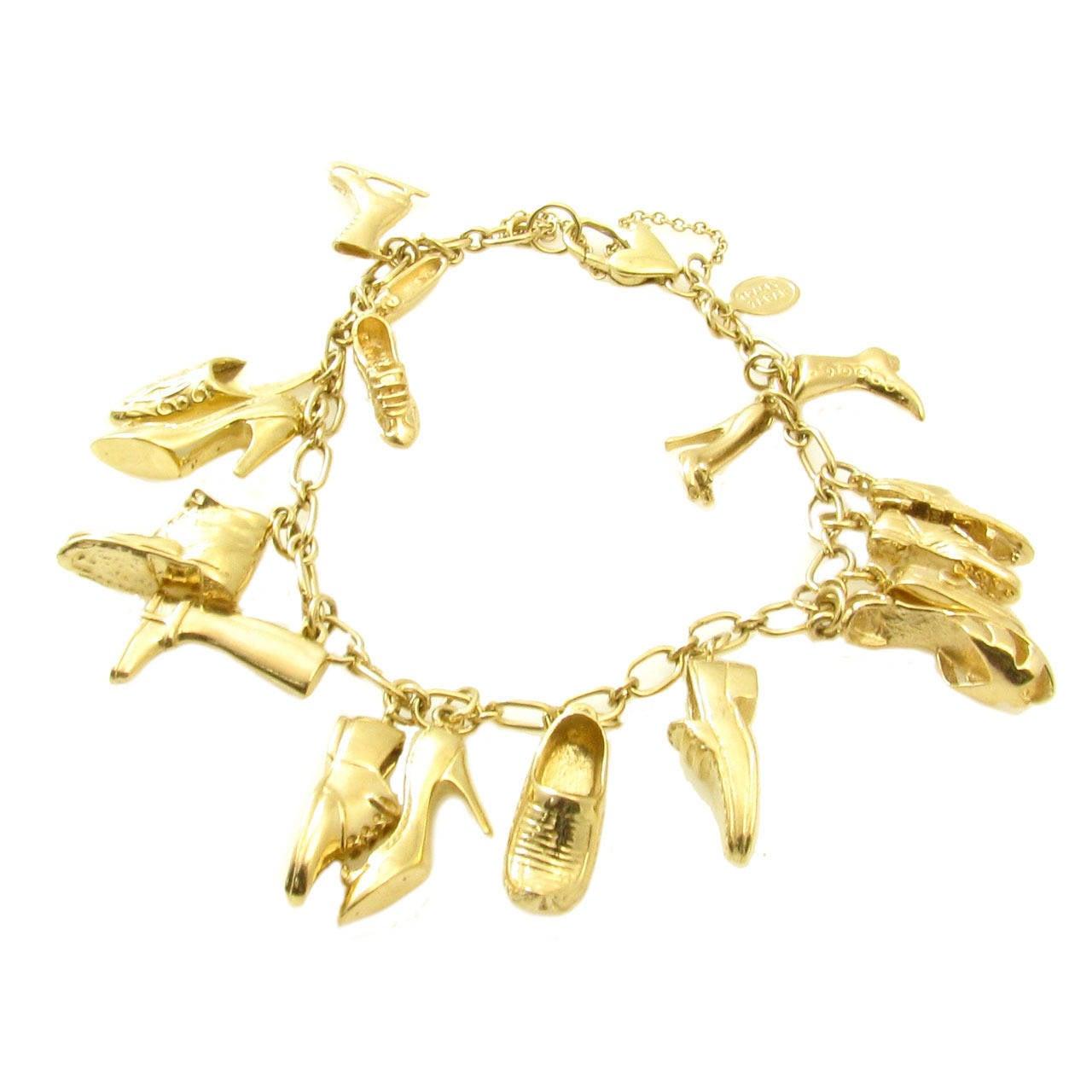 Shoe Charm Bracelet: Tracey Zabar Gold Shoe Charm Bracelet. At 1stdibs