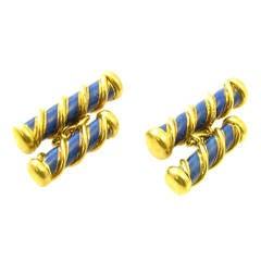 Tiffany & Co. Schlumberger Blue Enamel Gold Barber Pole Cufflinks