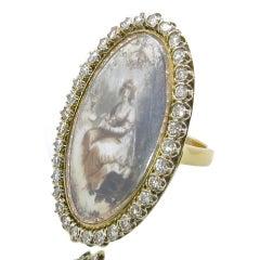 Antique Diamond Gold Memento Plaque Ring