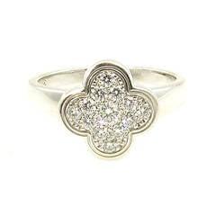 Van Cleef & Arpels Diamond Gold Alhambra Ring