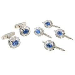 Sapphire Diamond Platinum Cufflink Dress Set