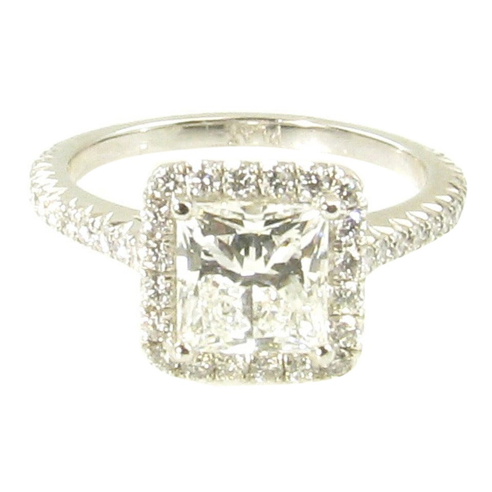 Tiffany and co diamond platinum princess cut engagement for Platinum princess cut wedding rings