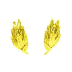 LALAOUNIS Gold Laurel Leaf Style Earrings.