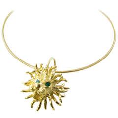 Cartier Emerald Gold Lion Head Necklace