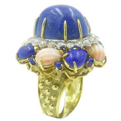 A Fabulous Lapis Lazuli Carved Coral Diamond Gold Dome Ring