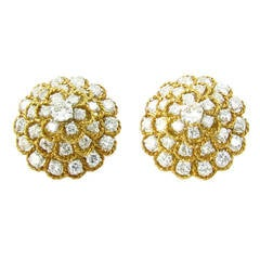 Marianne Ostier Diamond Gold Platinum Earrings