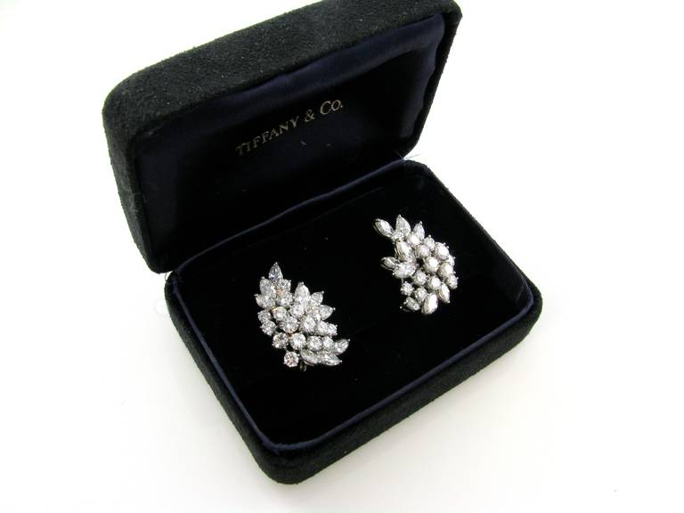 Women's Tiffany & Co. Diamond Platinum Crescent Leaf Cluster Earrings For Sale
