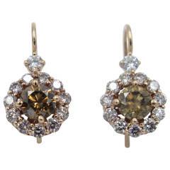 Fancy Color GIA Cert Diamond Gold Flower Earrings