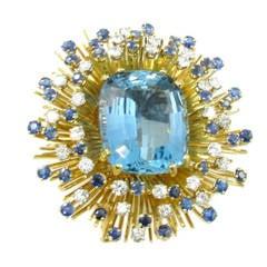 Tiffany & Co. Aquamarine Sapphire Diamond Brooch