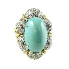A Chic Turquoise Diamond Dome Shaped Ring