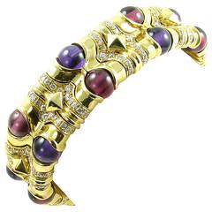 BULGARI Gold, Diamond, Pink Tourmaline and Amethyst Cuff Bracelet.