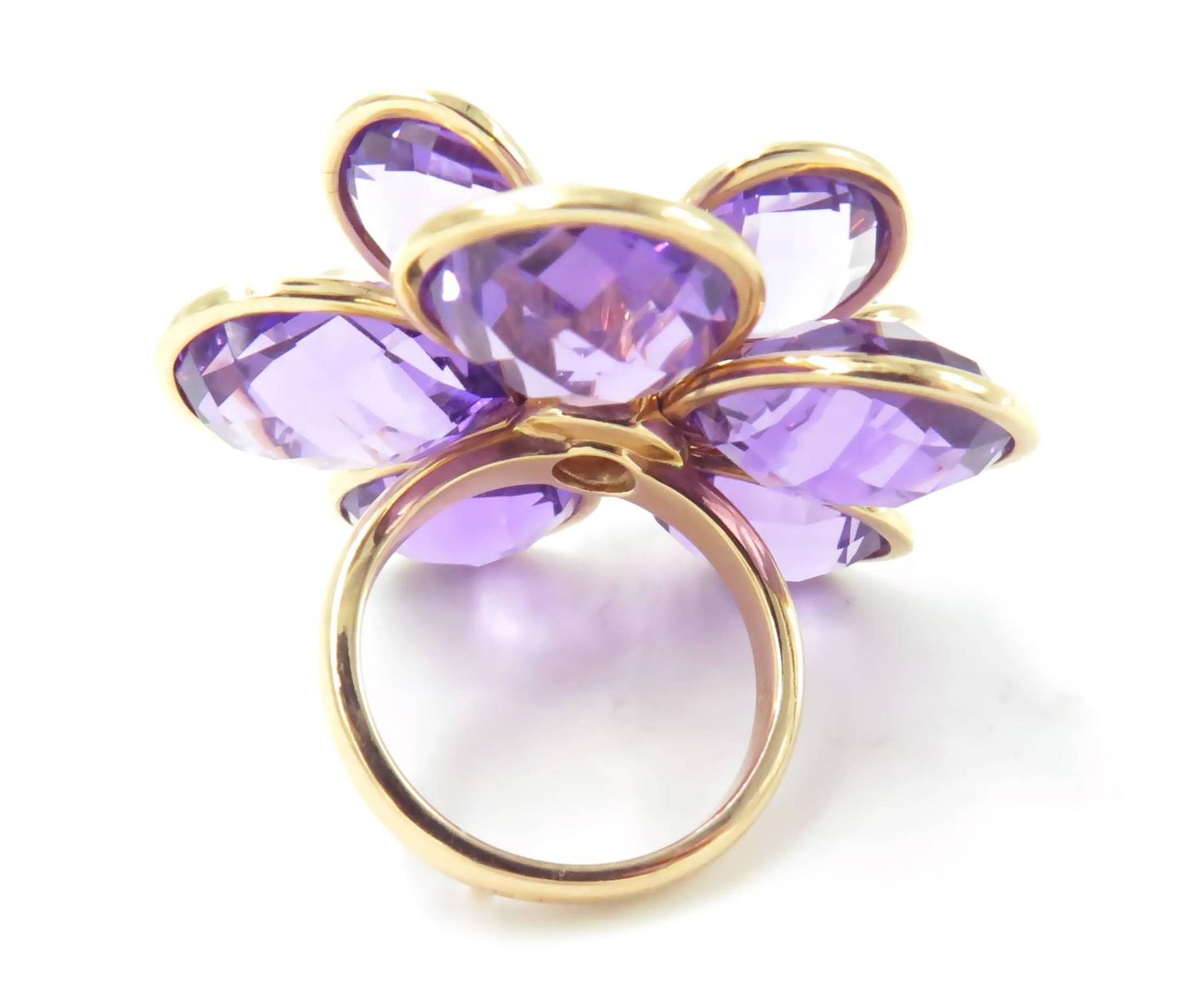 Suarez Amethyst Gold Flower Ring at 1stdibs