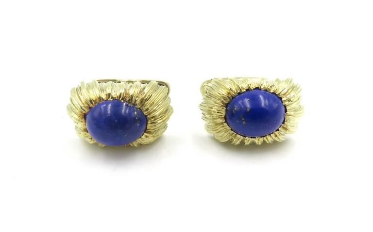 Lapis Lazuli and Gold Cufflinks In Excellent Condition For Sale In New York, NY