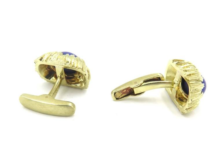 Women's or Men's Lapis Lazuli and Gold Cufflinks For Sale