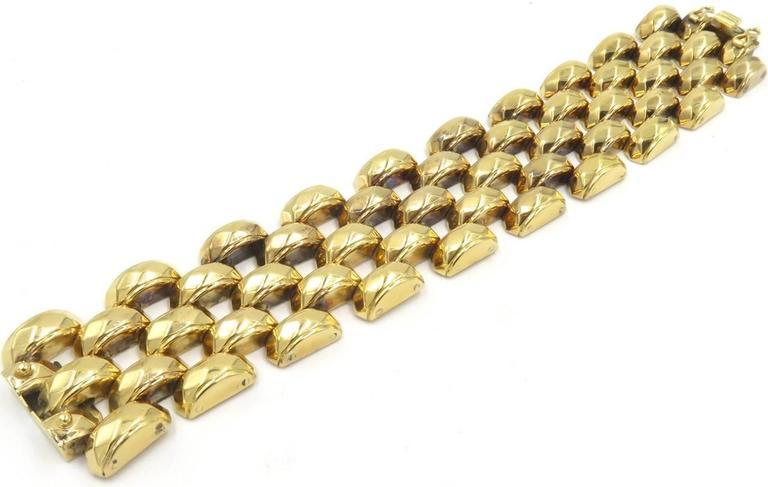 Hammered Rose Gold Brick Link Bracelet 3