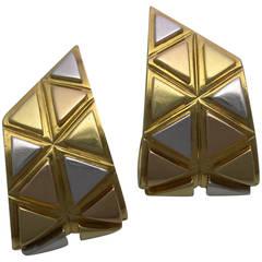 Marina B 3-Color Gold Geometric Earclips