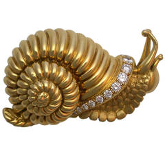 Rene Boivin Gold & Diamond Snail Brooch