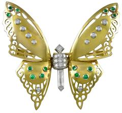 French 1930s Diamond Butterfly Pin
