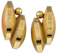 Sophia Vari Wood Gold Earclips