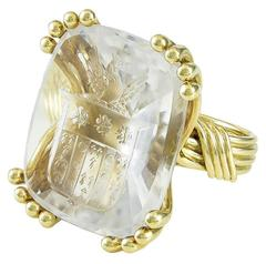 Rare Schlumberger  rock crystal Signet Ring