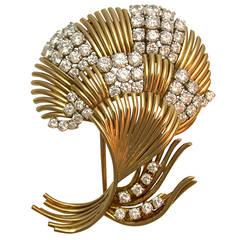 Van Cleef & Arpels Diamond Gold Spray Brooch
