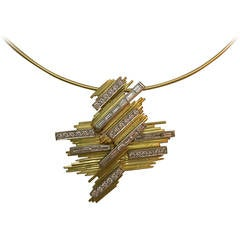 1960s Abstract Diamond Gold Pendant on Wire Choker