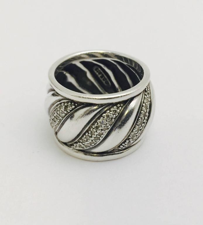 David yurman wide diamond sterling silver band style ring for David s fine jewelry