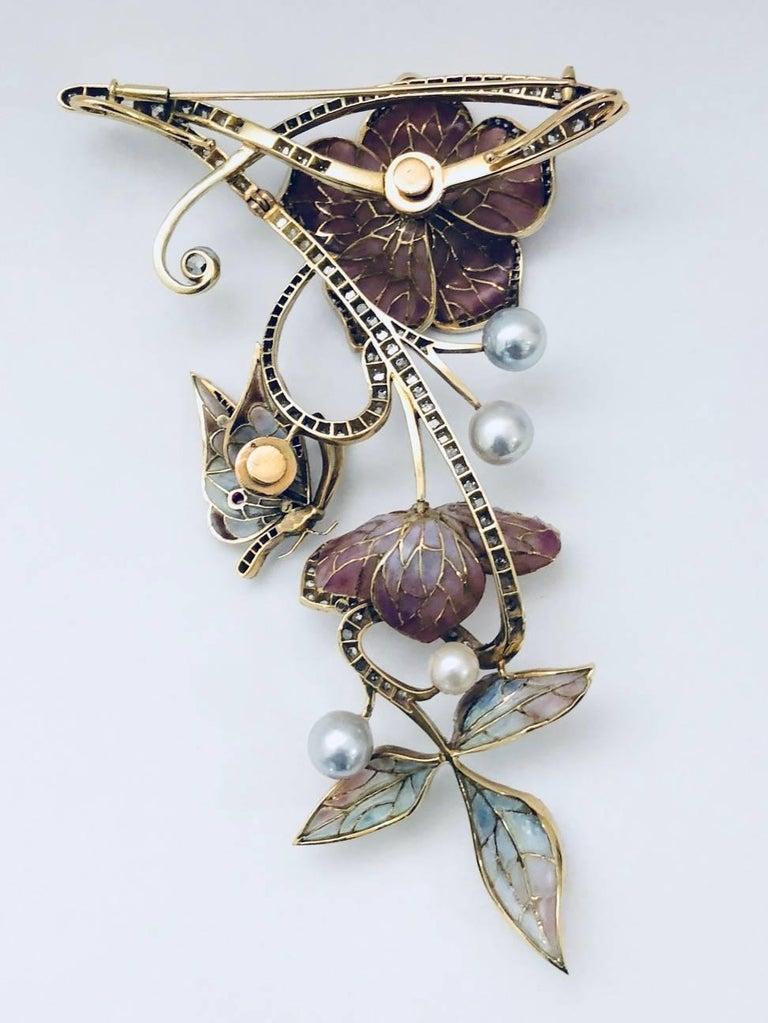 Moira of London 1998 18 Karat Plique a Jour Brooch Pendant For Sale 3