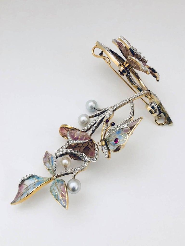 Moira of London 1998 18 Karat Plique a Jour Brooch Pendant For Sale 2