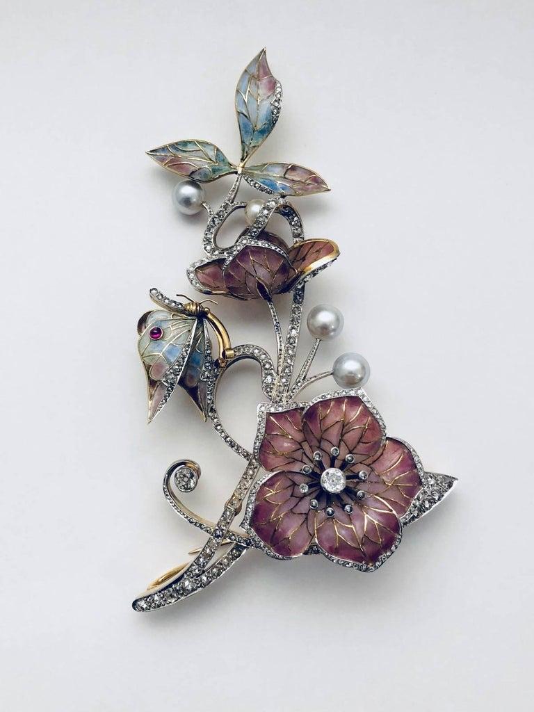 Moira of London 1998 18 Karat Plique a Jour Brooch Pendant For Sale 1