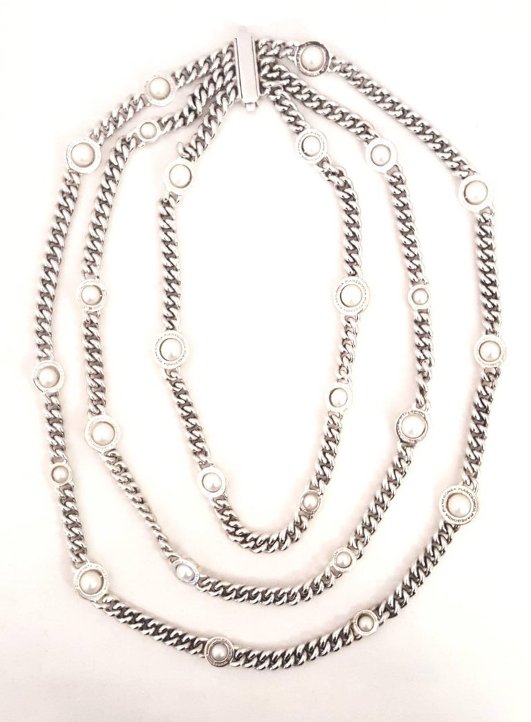 Contemporary Franco Pianegonda Sterling Silver and 18 Karat Pearl Three-Strand Necklace For Sale
