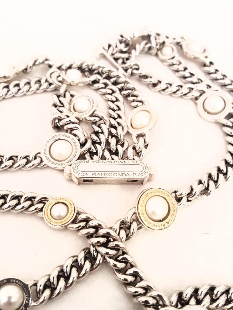 Franco Pianegonda Sterling Silver and 18 Karat Pearl Three-Strand Necklace In Excellent Condition For Sale In Palm Beach, FL