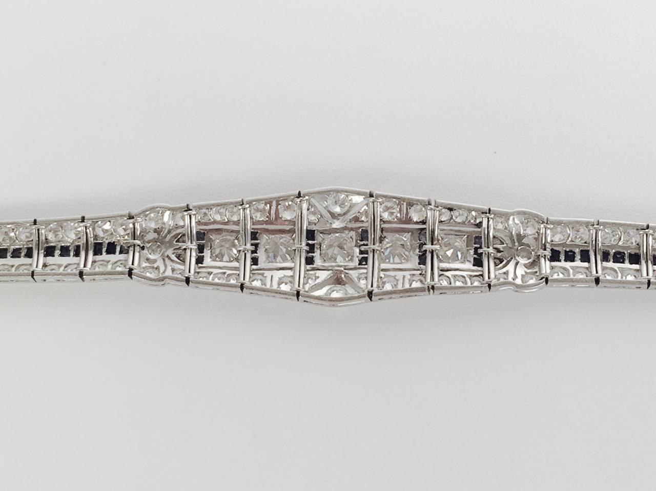 Women's Art Deco Sapphire Diamond Platinum Bracelet For Sale