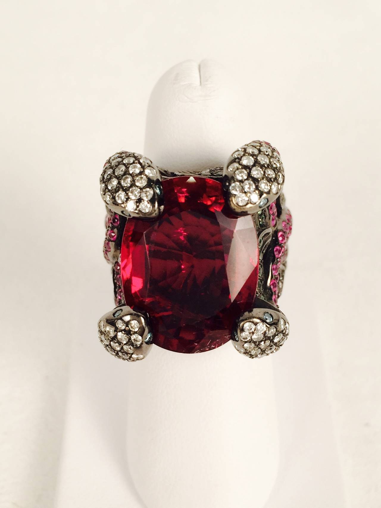 Women's Incredible Rubellite Tourmaline Gold Snake Ring For Sale