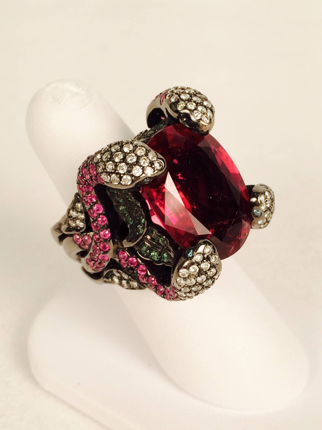Incredible Rubellite Tourmaline Gold Snake Ring For Sale 1