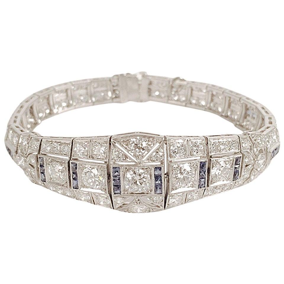 Art Deco Sapphire Diamond Platinum Bracelet 1