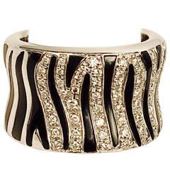Diamond Gold Zebra Striped Ring