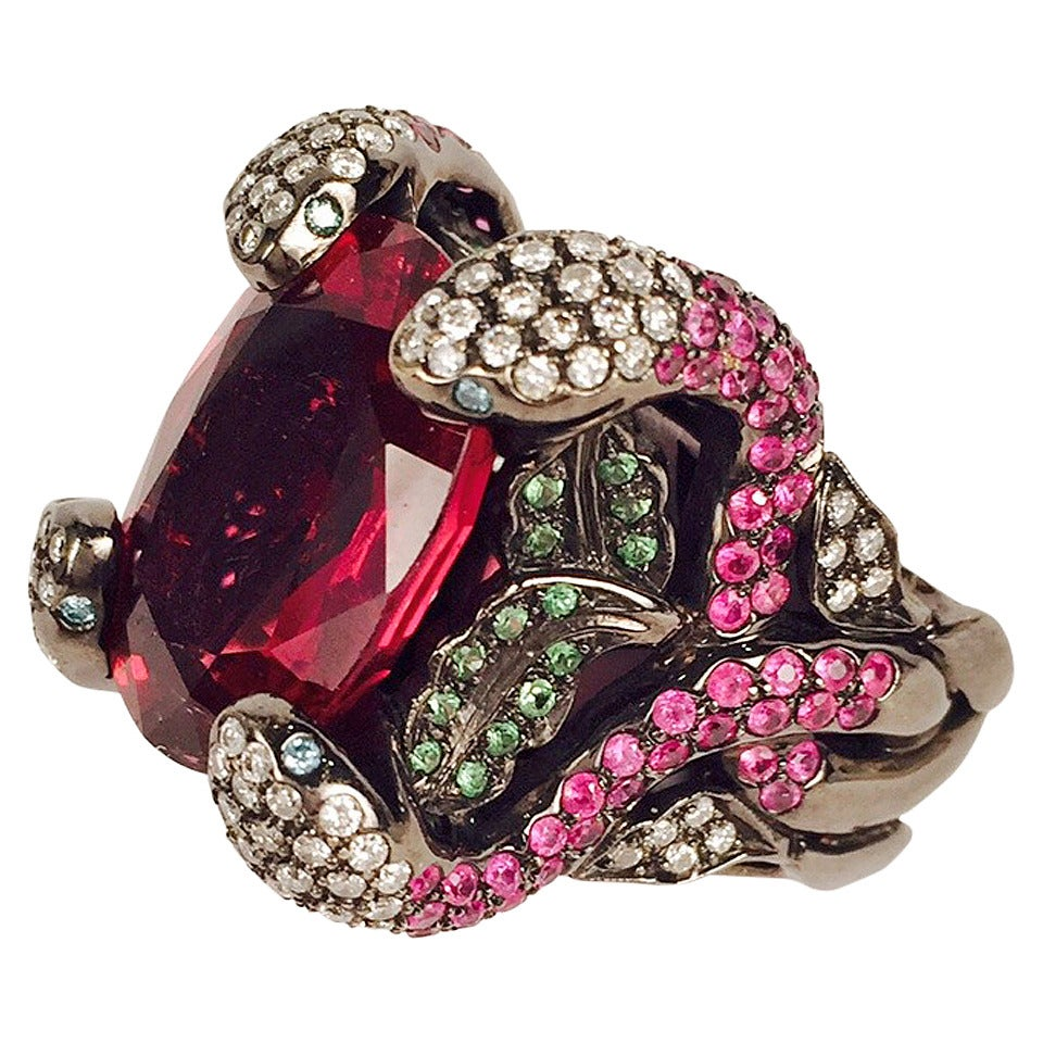 Incredible Rubellite Tourmaline Gold Snake Ring For Sale