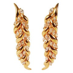 Diamond Gold Articulated Leaf Earrings