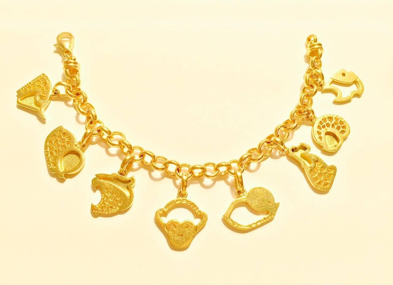 Fabulous Marina B 18 Karat Yellow Gold Charm Bracelet Celebrates The Signs Of Chinese Zodiac