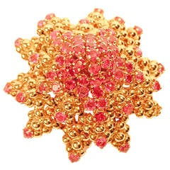 Tiffany & Co. Ruby Gold Petaled Flower Brooch