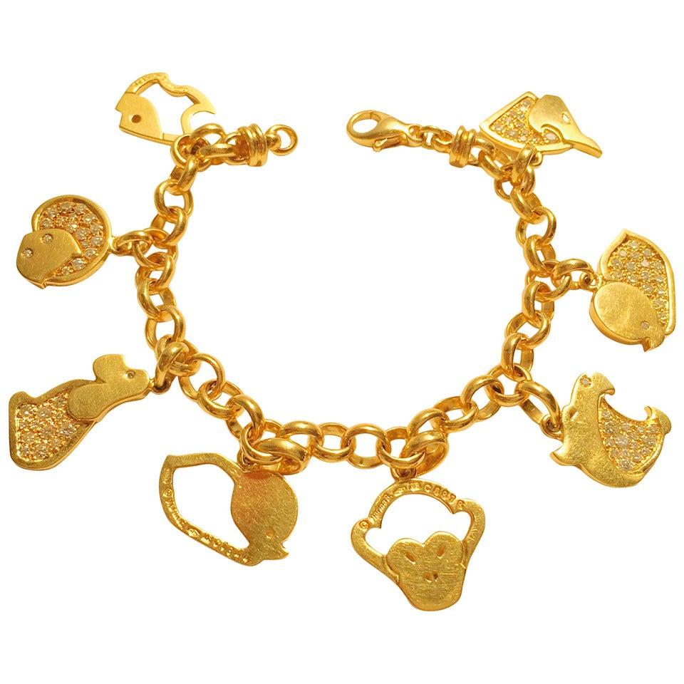 Zodiac Charm Bracelet: Marina B Diamond Gold Chinese Zodiac Charm Bracelet For