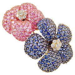 Pink and Blue Sapphire Gold Double Flower Brooch