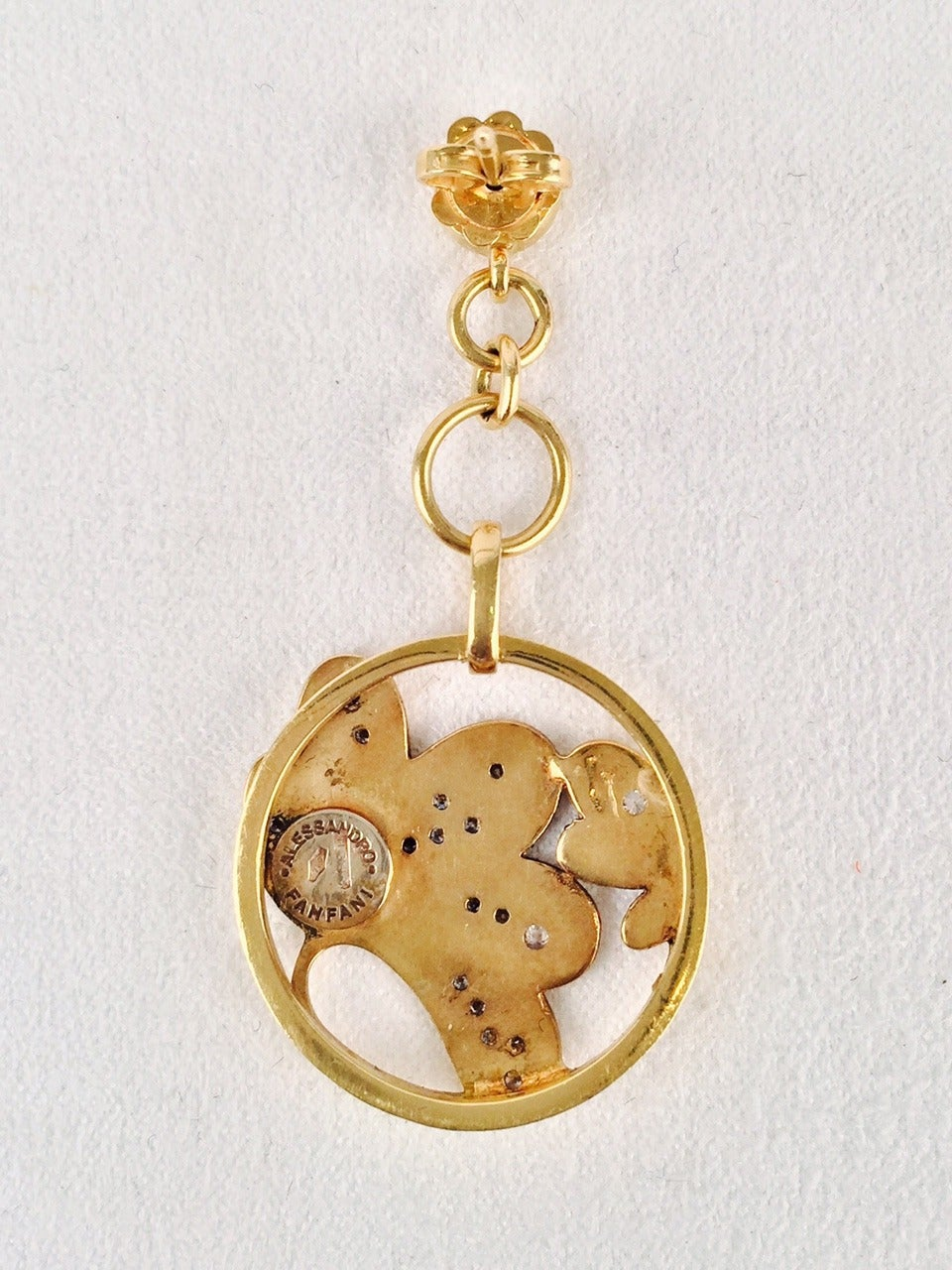 Allesandro Fanfani Enamel Diamond Gold Dangle Earrings 2